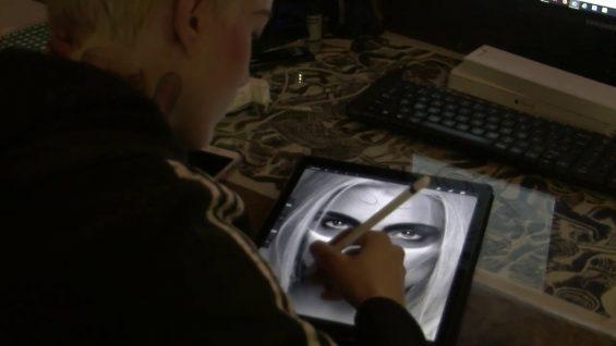 Girl Drawing on iPad